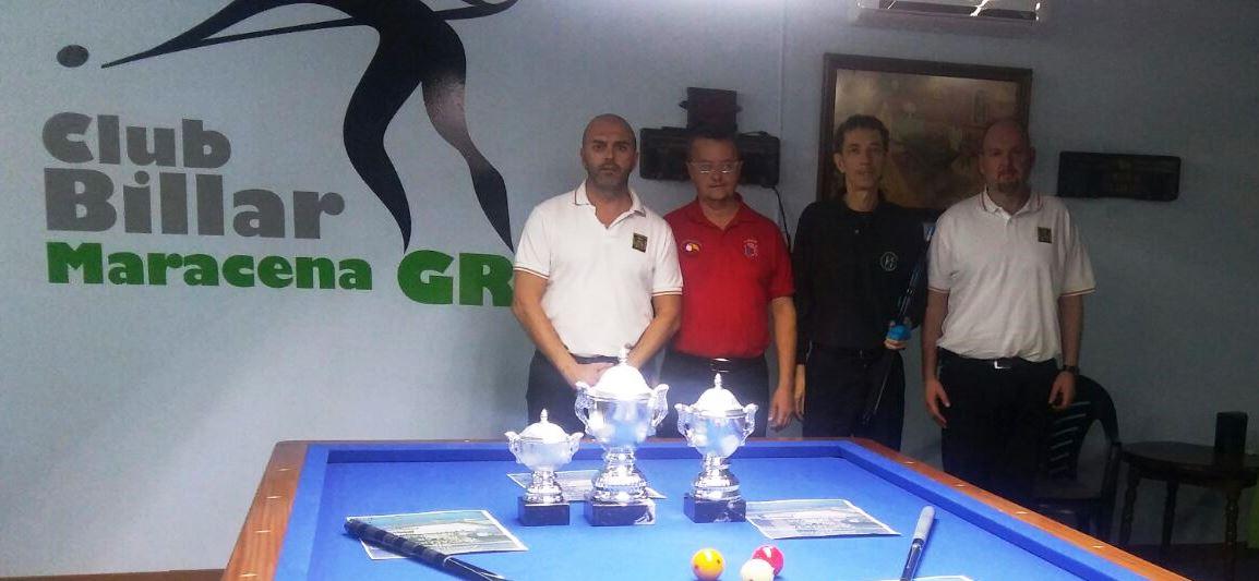 Finalistas del Campeonato Absoluto de Andalucia 2016-17, JAIME SANCHEZ FARACO (Ganador) MANUEL GONZALEZ CASTRILLO (Segundo) con los Arbitros